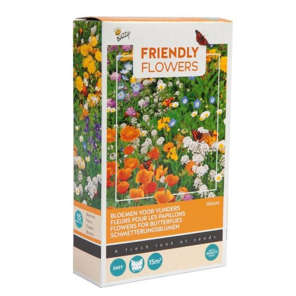 Friendly Flowers Mix, Schmetterlinge, 15 qm, mit Granulat, 30 Blumensorten;;71192
